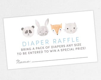 INSTANT DOWNLOAD Diaper Raffle Ticket, Diaper Raffle Card, Baby Shower Diaper Raffle, Diaper Raffle PDF, Diy, Woodlands, Fox, Panda, Bunny