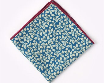 Blue Floral Pocket Square  | cotton handkerchief |  gift for groom | mens handkerchief | mens pocket square | wedding accessories