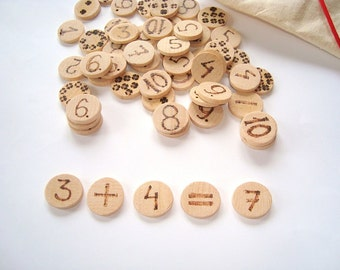 Wood coins for counting practice. Wooden coins for match games. Montessori toys