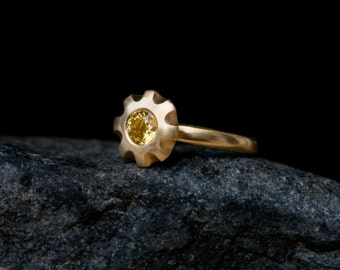 Yellow Sapphire Engagement Ring - 18K Gold Yellow Sapphire Ring - Sapphire Engagement Ring in 18K Gold - Made to Order- Free Shipping