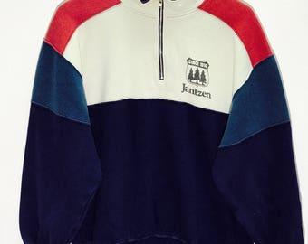 Rare Vintage Jantzen Oregon Usa Half Zippers Sweatshirts  size Large L / Jantzen Hoodie / Jantzen Sweater / Big Logo jacket