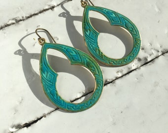 Verdigris Earrings Patina Jewelry