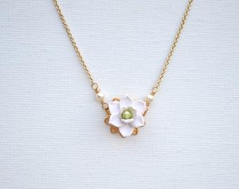 Delicate White Magnolia Necklace. Bradley Delicate Necklace in White Magnolia .
