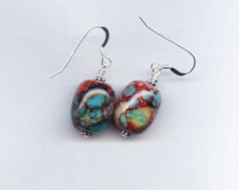 Teal, Red, Pink, Blue and Yellow Barrell Sterling Silver Earrings
