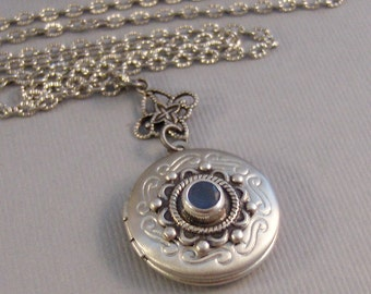 Little Blue,Locket,Silver Locket,Antique Locket,Girl,Child,Baby,Girl Locket,Blue,Blue Necklace, Blue bv Locket, Girl Gift valleygirldesigns.