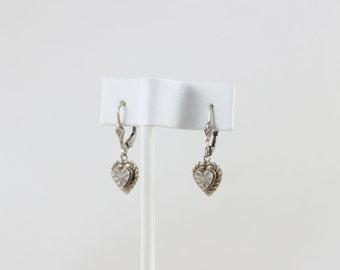 Sterling Silver Heart Dangle Drop Earrings Beverly Hills Sterling