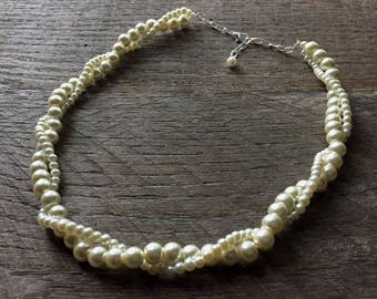 Yellow Ivory Pearl Bridal Necklace, Wedding Necklace, Twisted Pearl Necklace, Simple Necklace on Silver or Gold Chain