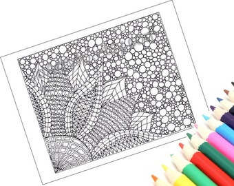 Zendoodle Coloring Page, Printable- Page 2: Zentangle Inspired Flower