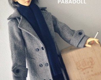 Gentleman Grey Woolen Coat for 1/4 msd,1/3 SD17 Uncle Customized  Doll Clothes CMB2