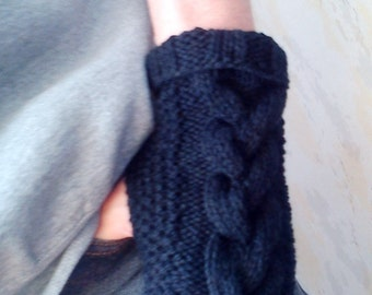 Men's Black Armwarmers with Cable Mittens Fingerless  Gloves Knitted Arm Warmers Man Boy Men Wool Knitted Gloves