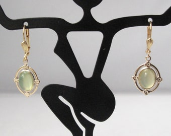 Chalcedony Earrings on Gold Plated Leverback Earwires
