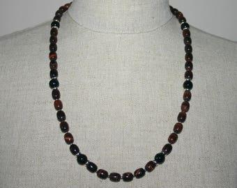 RED TIGERS EYE  Black Onyx Necklace For Men...Men's Gemstone Necklace