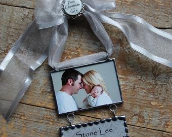 First Christmas Ornament- Baby Keepsake-Personalized Photo Ornament-Picture Ornament-Photo Gift-Baby's First Christmas Ornament