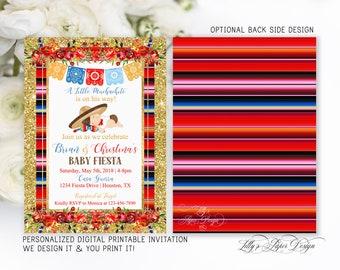 Fiesta Baby Shower Invitation, Mexican Fiesta Baby Shower Invite, Muchachito, Charro Fiesta Baby Shower Invite, Floral Fiesta-0077