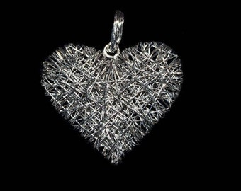 Silver Filaments Heart Necklace.