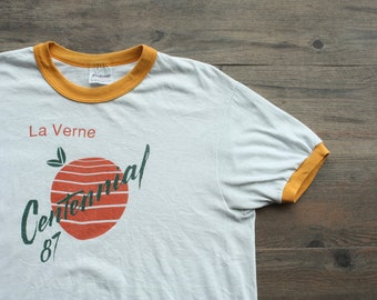 Vintage 1980s La Verne Centennial Oranges Ringer Tee //  Centennial Oranges Tee // La Verne Lordsburg California Tee