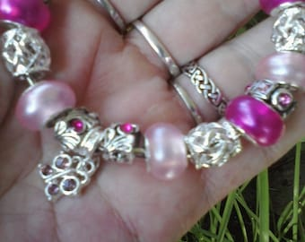 Translucent in Pink with butterflies, Euro style bracelet