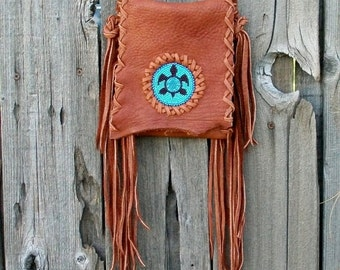 Beaded turtle bag , Leather phone bag , Fringed turtle bag , Festival bag , Red Rock Turtle bag ,  Turtle totem bag , crossbody bag