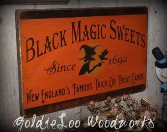 Primitive, Folk Art ,Halloween, Black Magic Sweets 2, wall sign