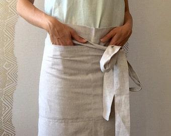 Linen cafe half apron, chef apron, kitchen linen apron, linen cafe-apron, short apron, eco-friendly gift, linen half-apron
