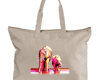 Elephants on Natural Canvas Zippered Tote