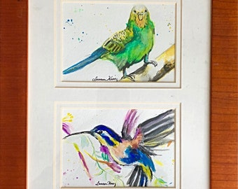Water Color Birds in 4 panels