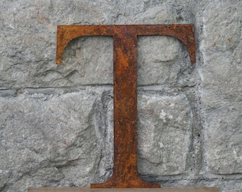 Flat Metal Rusty Letter T / Metal / Letter / Garden / Industrial / Vintage / Rustic / Floral / Gift / Wedding / Home / 25cm