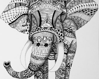 Zentangle Elephant Original