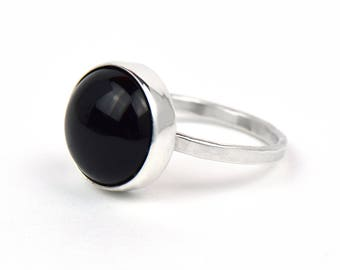 Black Onyx Ring - Black Stone Ring - Sterling Silver Onyx Ring - Hammered Ring - Sterling Silver Rings for Women - Christmas Gift