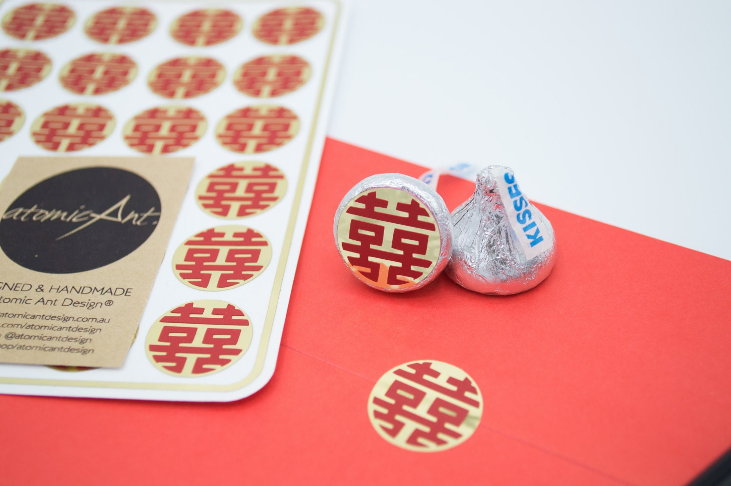24 Gold Stickers with Red Double Happiness Symbol - Handmade ...