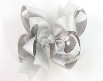 "Silver Hair Bow, 5"" silver hair bows, girls hair bow, metallic hair bows, Christmas, baby hair bow, big girl hair bow, large, double layer"