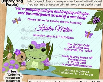 Robot baby shower invitations aqua blue and orange gray grey girl hippity frog baby shower invitations purple lavender lilac girls frogs turtle pond dragonfly filmwisefo Images