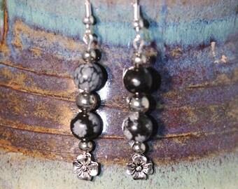 Spring Jewelry Sale - Snowflake Obsidian Earrings - Item 1076