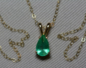 """Emerald Necklace, 14K Yellow Gold Colombian Emerald Pendant 0.59 Carat, Certified Emerald, Real Natural Genuine Jewelry, 18"""" Gold Chain"""