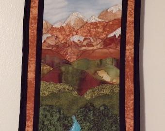 Mountain stream - appliqued wall hanging - Handmade