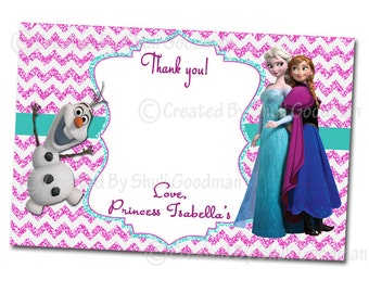 Frozen thank you cards - printable - DIY - digital file (FT4)