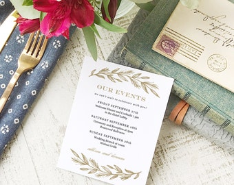 Wedding Agenda Card, Printable Wedding Timeline Letter, Events Card, Simple Wreath, Itinerary, Agenda, Hotel Card - INSTANT DOWNLOAD
