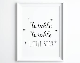 Twinkle Twinkle Little Star Printable Art, Star Baby Shower, Twinkle Baby Shower, Little Star Baby, Nursery Wall Art, Digital Downloads