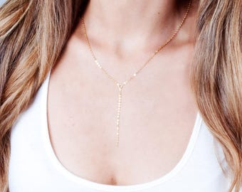 Layered Necklace, Gold Lariat Necklace, Gold Y Necklace, Gold Choker Y Necklace, Dainty Y Necklace, Chain Drop Necklace, Short Y Necklace