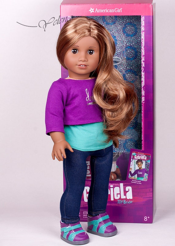 made to order ooak american girl doll gabriela custom made from new doll with lea marie grace or isabelle wig with box and outfit - Ameeican Girl Doll