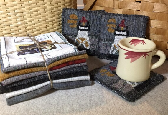 Rug Hooking Kit, GM Lighthouse Mug Rugs  5 x 5  K132