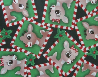 Rudolph the Red Nose Reindeer Christmas Cotton Fabric BTY RARE VHTF
