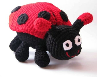 Lady Bug Toy, Crochet Lady bug Plush, Rattle, Toy Insect, lady bug doll, Amigurumi Lady Bug, stuffed toy