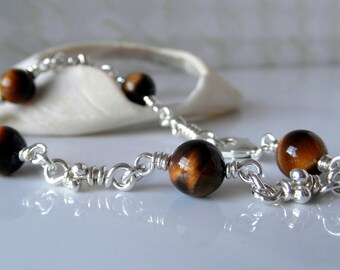 Tiger Eye Sterling Silver Bracelet. Knot Links Handmade Chain. Knot Link Bracelets