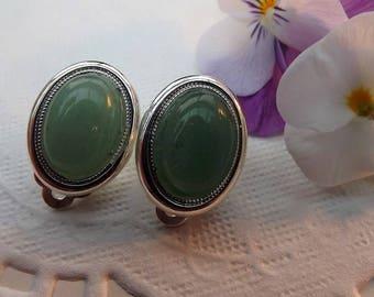 Green Aventurine Gemstone Clip on Earrings. Silver Plate.