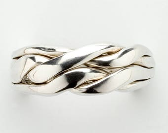 Ladies 4 Band Chain Puzzle Ring in Sterling Silver, Gold or Platinum, 4CH