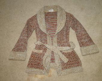 VINTAGE Brown CARDIGAN SHAWL coliar sweater 70s Sz womens