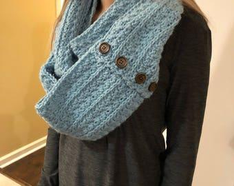 Crochet woman's infinity scarf.