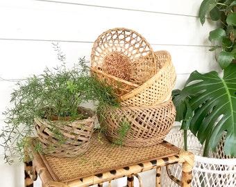 Vintage Basket Collection • Woven Wall Baskets • Basket Planter Bohemian Decor