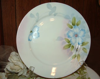 Hand Painted Nippon Plate with Blue Floral design